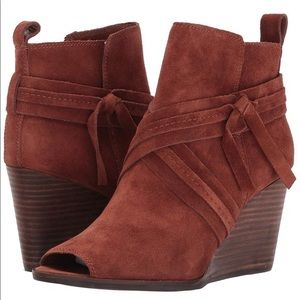 Lucky Brand Brown Udom Peep Toe Bootie